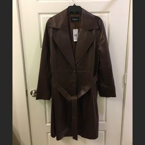 Lafayette 148 NY Leather Trench Coat L  NWT